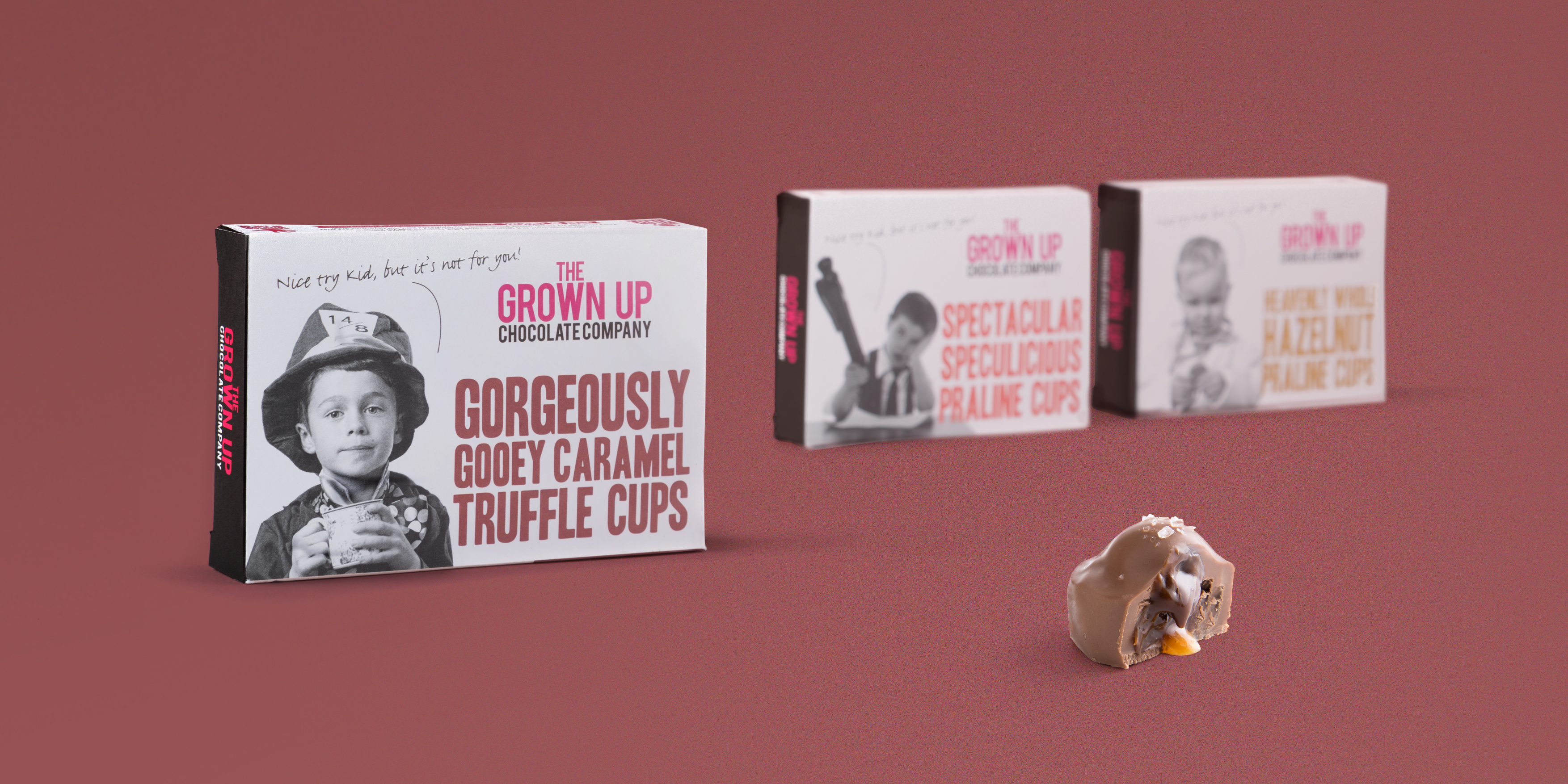 The Grown Up Chocolate Company Packaging Design