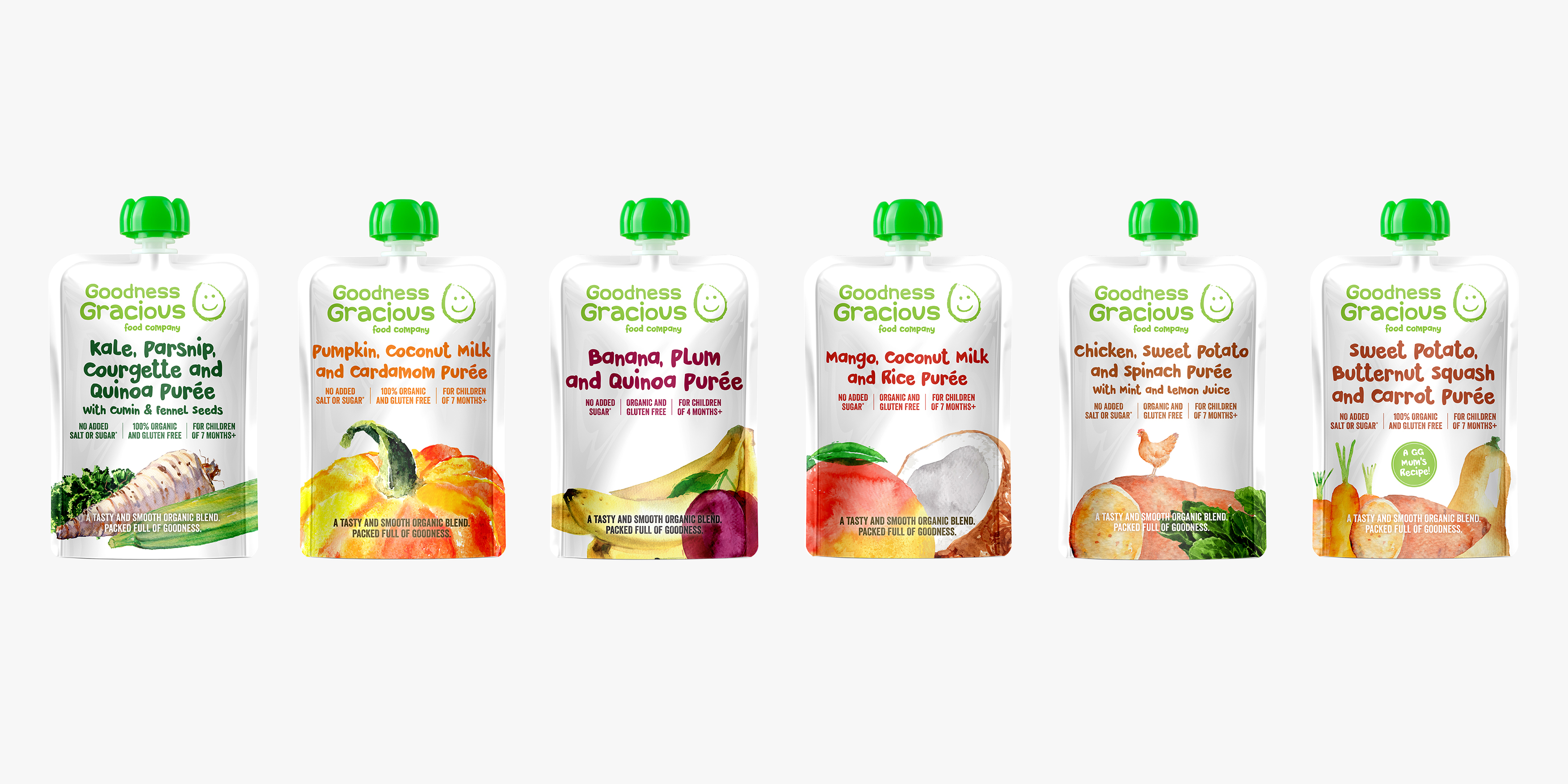 Goodness Gracious Baby Food Branding and Packaging Range by Toast Food