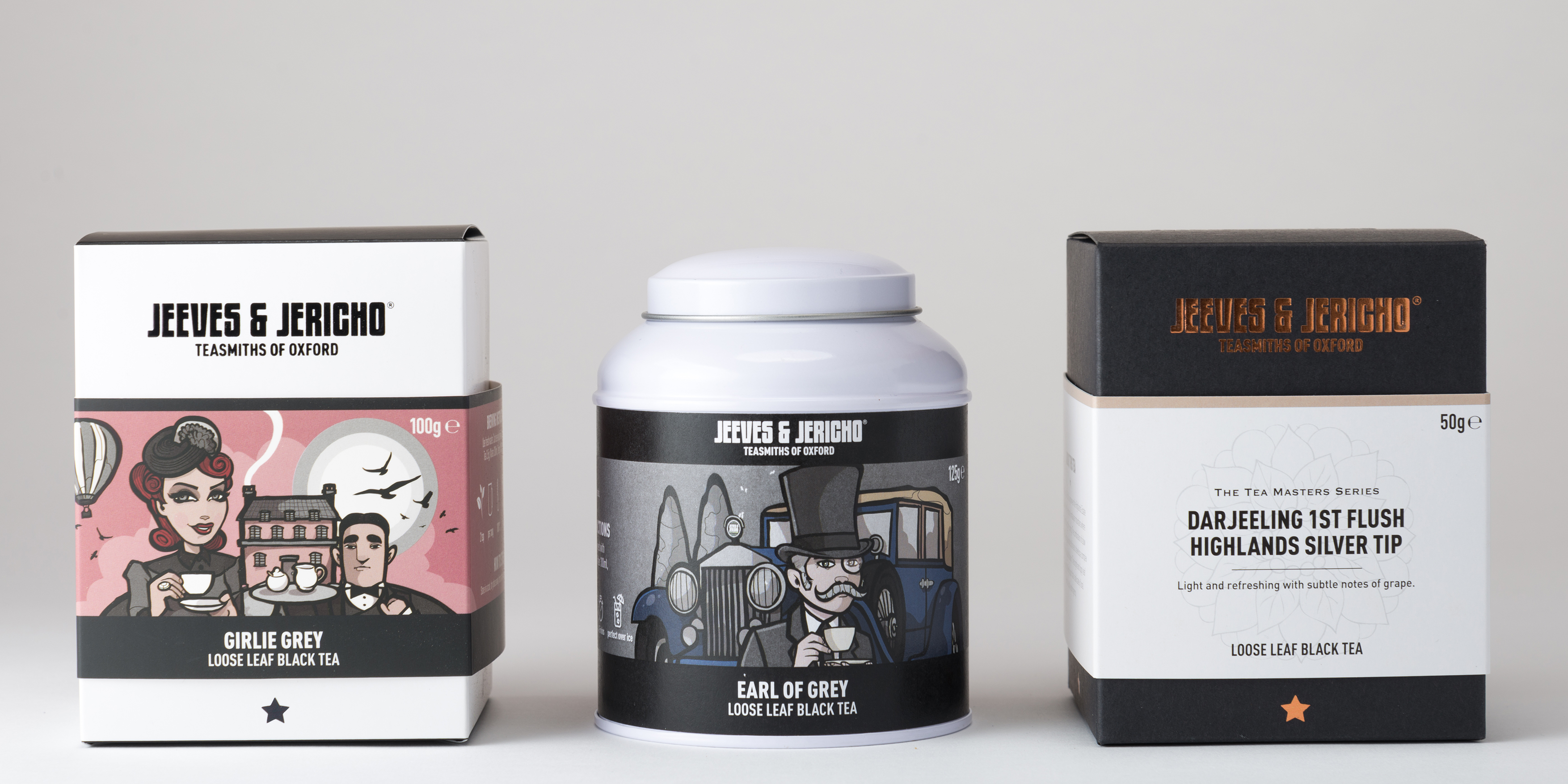 Jeeves and Jericho Tea Packaging Options