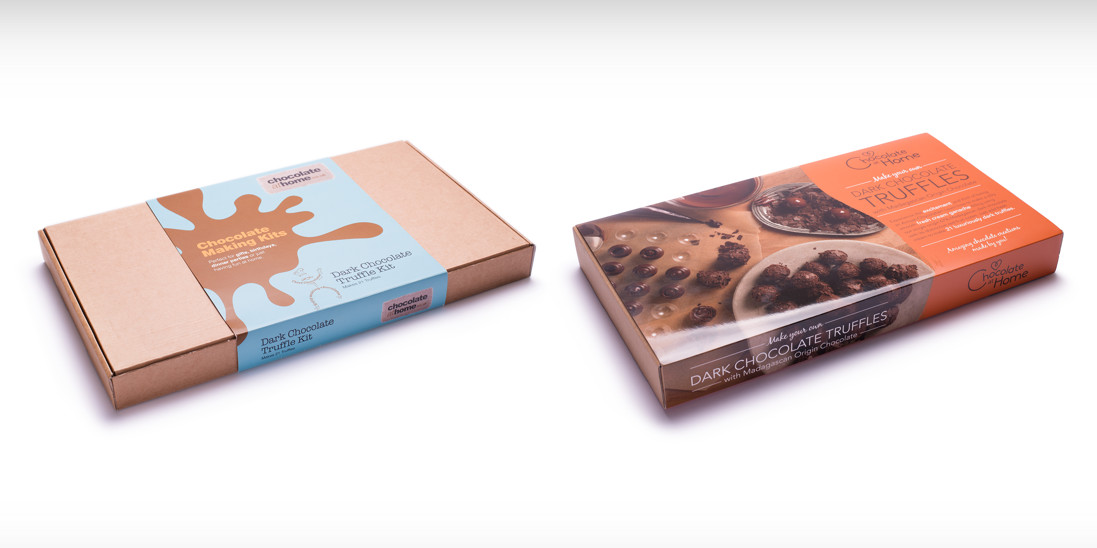 Chocolate at Home Branding and Packaging before and after