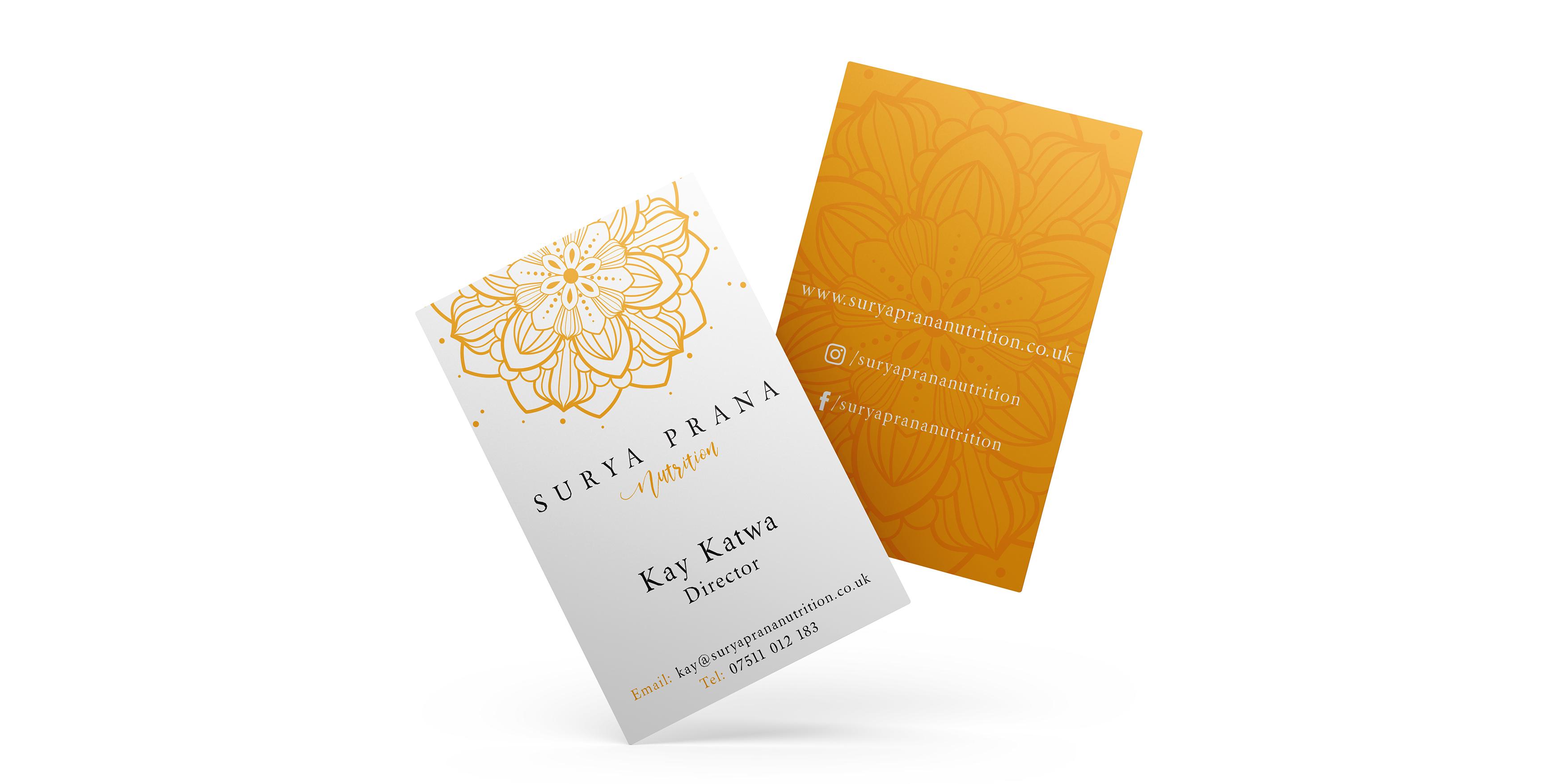 Surya Prana Nutrition Branding Business Cards